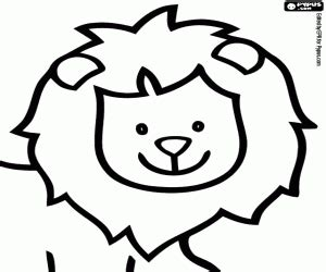 Coloriage Visage souriant du lion à imprimer Felines