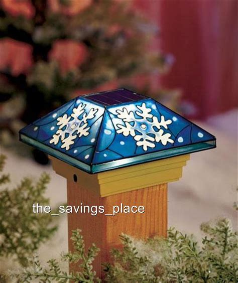 stained glass post light solar fence post cap deck porch light stained glass look