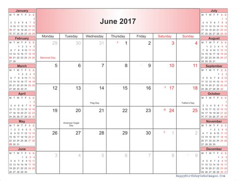 printable calendar holidays 2017 june 2017 calendar printable template with holidays