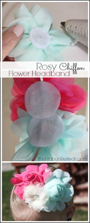 s chiffon flower headbands only 1 04 each rosy chiffon flower headband the ribbon retreat