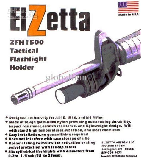 Elzetta Tactical Mounting Flashlight Airsoft M4 M16 Series elzetta zfh1500 tactical flashlight mount for ar15 m4 m16 attaches to front sight base deer