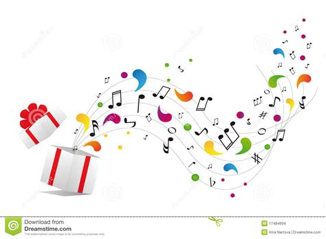 gift song notes from gift box stock vector image of curve