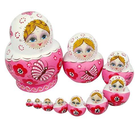 Charming Christmas Gifts For Girls Age 8 #5: 10PCS-Wooden-Matryoshka-font-b-Doll-b-font-Pink-Wooden-font-b-Russian-b-font-font.jpg
