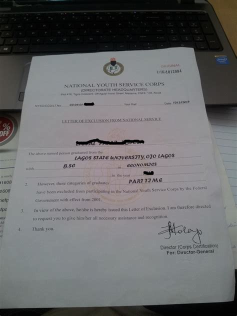 Request Letter Format For Nysc nysc certificate number sle choice image certificate