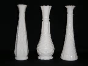 vintage white milk glass vases set of three different designs