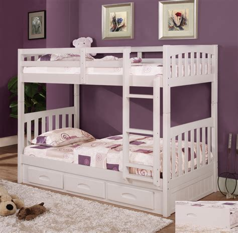 twin over twin bunk beds discovery world furniture twin over twin white mission