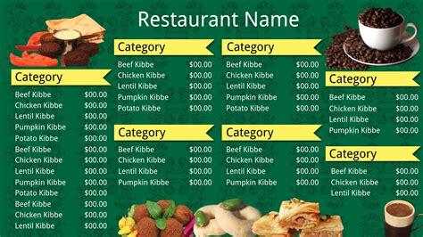 digital menu templates free digital menu templates free digital menu board