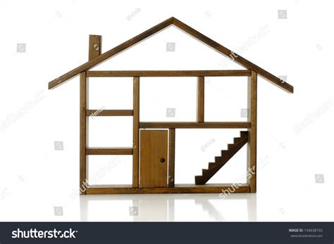 house with rooms wooden outline house showing rooms chimney stock photo