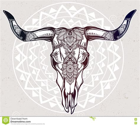 cow skull tattoo bulls mandala pencil and in color bulls mandala