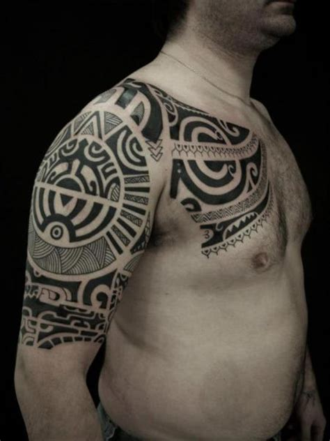 tribal shoulder and chest tattoos shoulder chest tribal maori by blood for blood