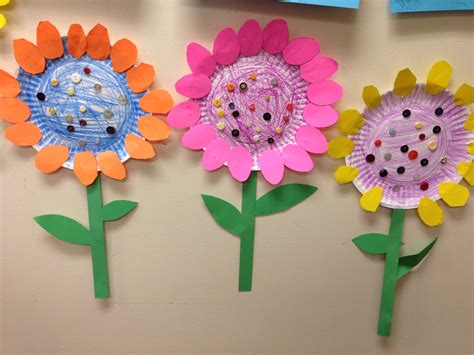 Paper Craft For Kindergarten - paper plate flowers littlehandsbigplans crafts