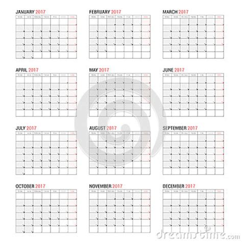 Yearly Wall Calendar Planner Template For 2017 Year Stock Vector Image 83634192 Yearly Wall Calendar Template