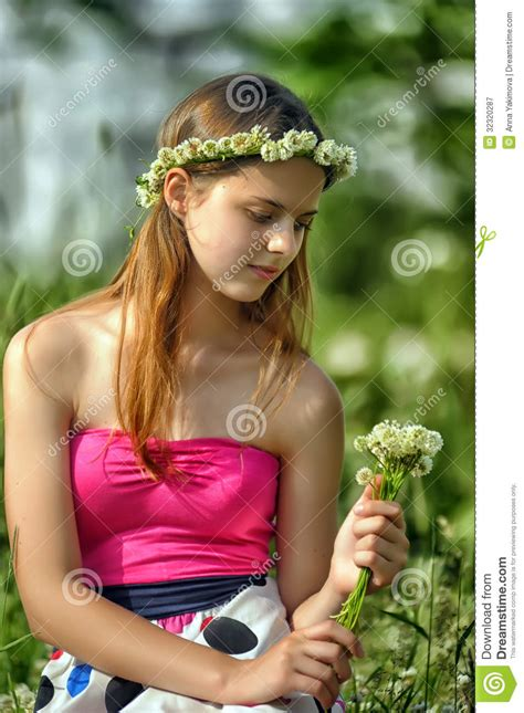 free preteen gallery preteen girl on green clover stock image image of