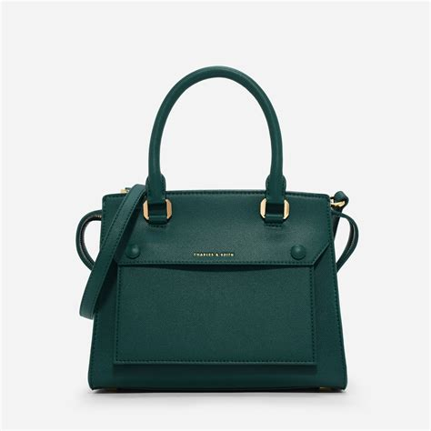 Charles And Keith Bag charles keith green structured top handle bag leather