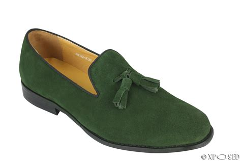 green mens loafers new mens real leather slip on smart casual tassel loafers