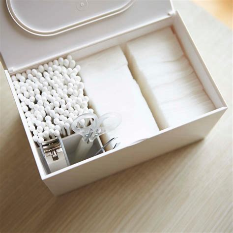 Cotton Swab Organizer yamazaki veil cotton swab organizer the container store