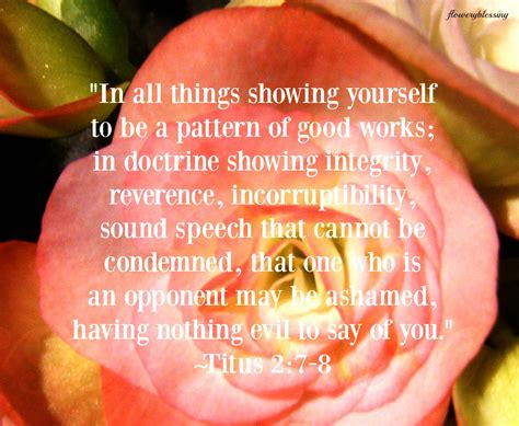 pattern of good works flowery blessing quot in all things showing yourself to be a