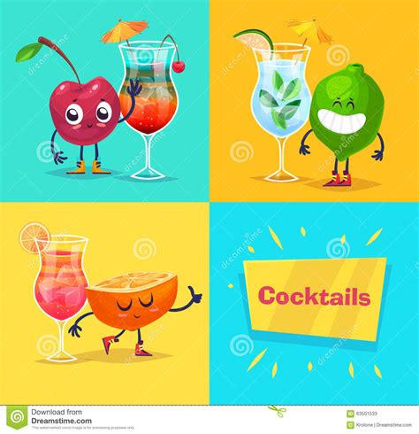 cocktail party cartoon set of fruit characters and cocktails vector cute stock