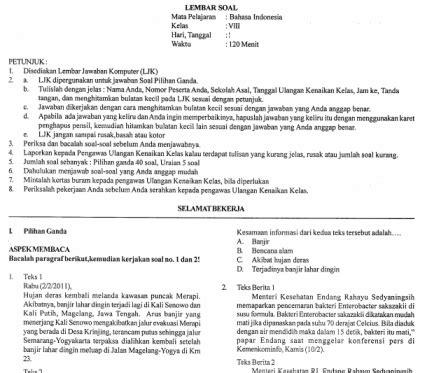 letter bahasa inggris smp soal ukk bahasa inggris kelas 8 smp serba serbi guru