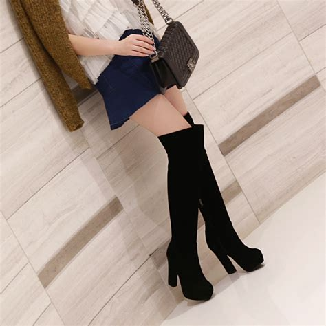 high quality thick high heeled thigh boots suede