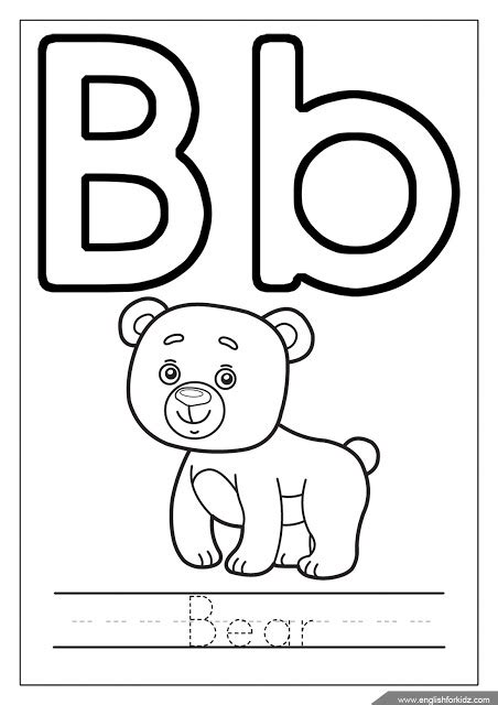 b bear coloring page printable alphabet coloring pages letters a j