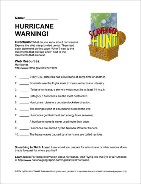 hurricane worksheet answers hurricane warning education world