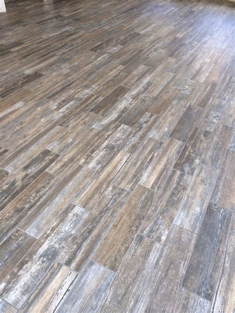 barn wood tile love our floors finished house pinterest