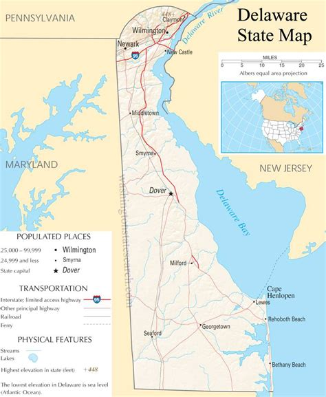 Search Delaware Jurisdiction Delaware State Map A Large Detailed Map Of Delaware State Usa