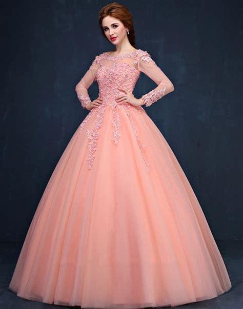 www gaun long sleeve colourful elegant lace ball gown