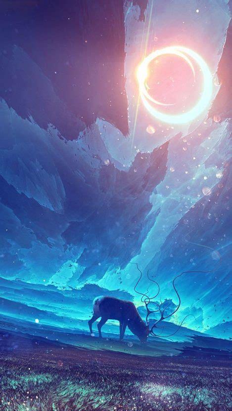 reindeer forest night stars digital art iphone wallpaper