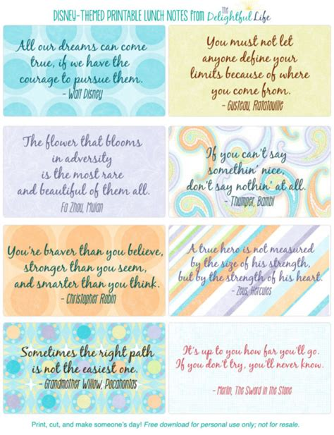 free printable disney quotes 50 free disney printable lunch notes the delightful life