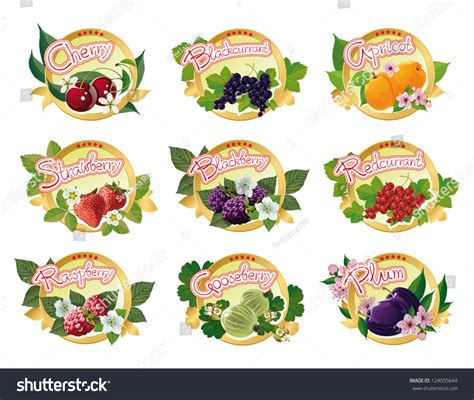 Set Of Colored Labels For Fruit Jam Stock Set Colored Labels Fruit Jam Stock Vector 124055644