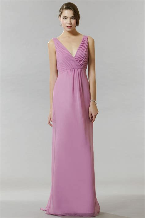 Simple Top V Neck a line pink chiffon simple v neck sleeveless bridesmaid dress topbridal co nz