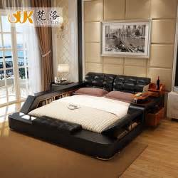 Queen Size Bedroom Sets With Mattress Aliexpress Com Buy Modern Leather Queen Size Storage Bed