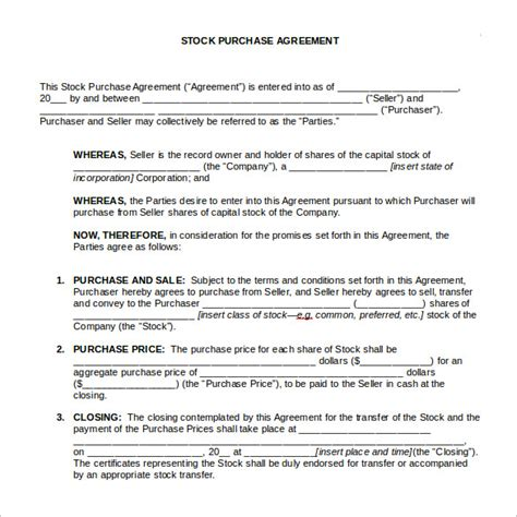 acquisition agreement template stock purchase agreement 6 free documents in