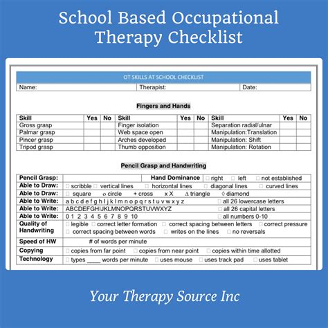 School Based Occupational Therapy Checklist Your Therapy Source Occupational Therapy Documentation Templates
