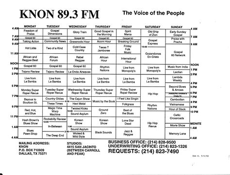 radio station schedule template the history of knon 89 3 fm in dallas knon voted