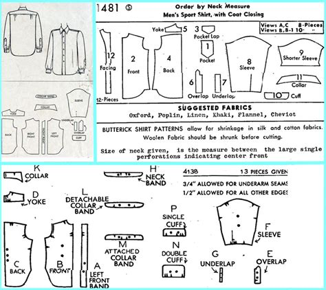 shirt pattern pieces off the cuff sewing style april 2005