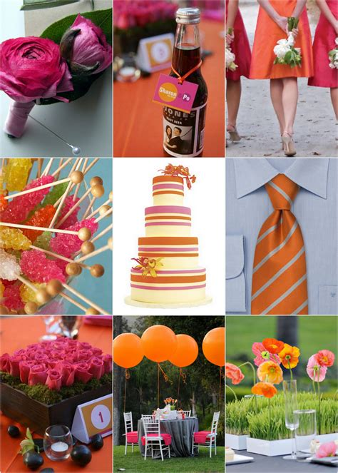 wedding blogs orange and pink wedding colors