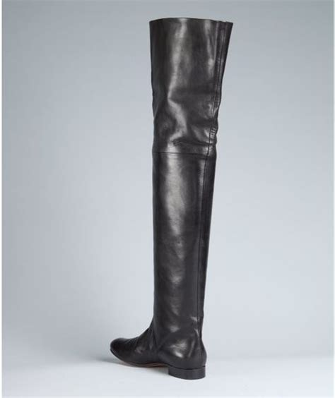 thigh high black boots flat black leather thigh high flat boots in black lyst