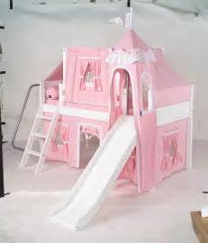 Princess Bunk Bed With Slide Maxtrix Princess Castle Bed W Angled Ladder And Slide Soft Pink White Size