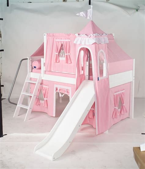 princess bunk beds maxtrix princess castle bed w angled ladder and slide