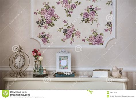 shelf with home decor in the style of provence stock photo