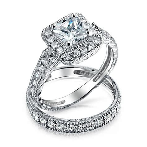 925 Silver Princess Cut CZ Engagement Wedding Ring Set
