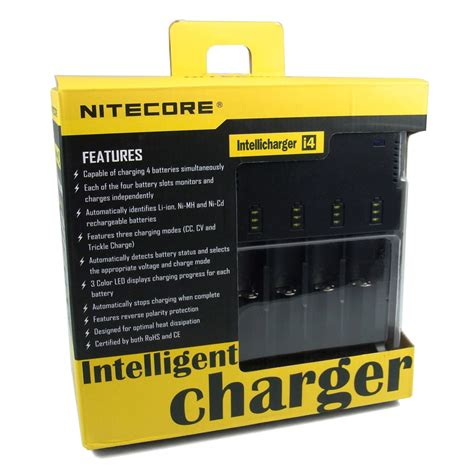 Nitecore Intellicharger Universal Battery Charger 4 Slot For Li Ion And Nimh I4 nitecore intellicharger universal battery charger 4 slot for li ion and nimh i4 black