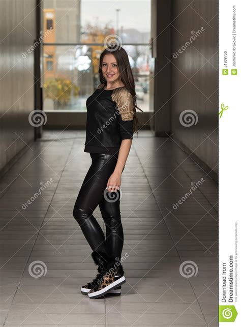 New Fashion Time Leather fashion model wearing leather and shirt stock photo image 51908750