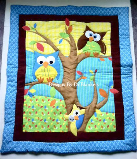 Owl Baby Quilts by Owl Baby Blanket Quilt Owls In Tree And Flannel Minky