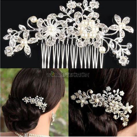 bridal tiara prom rhinestone crystal hair pin comb heart crown bridal wedding crystal rhinestone flower hair clip comb