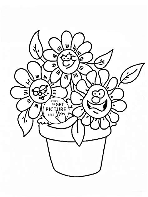 printable cartoon flowers funny cartoon flowers coloring page for kids flower