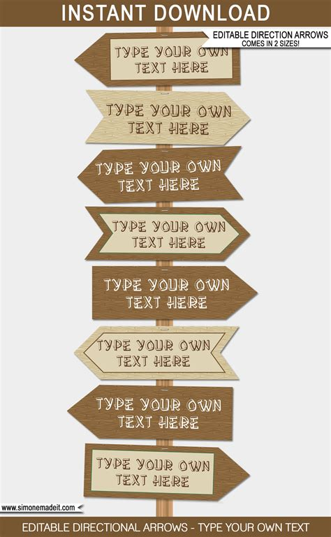 Cing Party Directional Signs Printable Direction Arrows Direction Signs Template